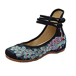 Embroidered Sequins Oxfords Sole Peacock Casual Flats