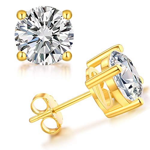 Over Gold Stud Silver (Trensygo 4mm Stud Earrings for Women Men Cz Cubic Zirconia Hypoallergenic 925 Sterling Silver 14k Gold Plated Post Fashion Nickel Free Jewelry ...)