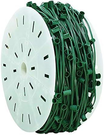 "12/"" Spacing Green Wire Novelty Lights 500 Foot C9 Christmas String Bulk Reel"