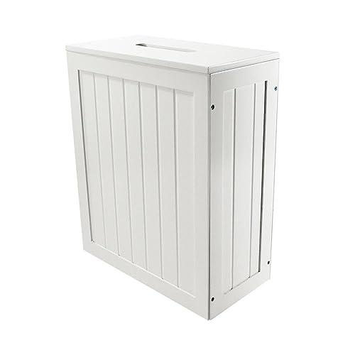 White Shaker Slimline Wooden Multipurpose Bathroom Storage