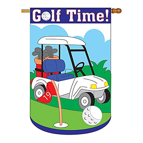 Two Group - Golf Time Interests - Everyday Sports Applique Decorative Vertical House Flag 28