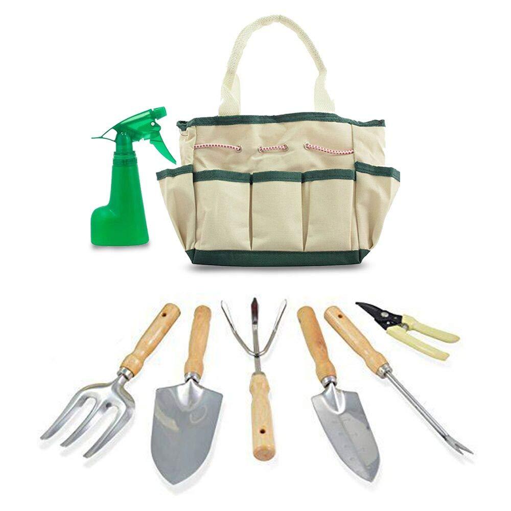 GardenHOME Indoor 7-Piece Stainless Steel Garden Tool with Garden Tote Set, 3 Tools, 2 Pruners, 1 Sprayer