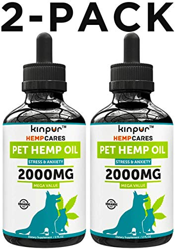 (2 Pack | 4oz) Hemp Oil for Dogs & Cats - 2000mg - 100% Organic Pet Hemp Oil - Anxiety Relief for Dogs & Cats - Supports Hip & Joint Health - Grown & Made in USA - Omega 3, 6 & 9