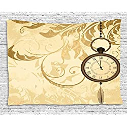 Ambesonne Clock Tapestry, Vintage Grungy Background Design with Pocket Watches on Chain Romantic Retrort Print, Wide Wall Hanging for Bedroom Living Room Dorm, 80 X 60, Brown
