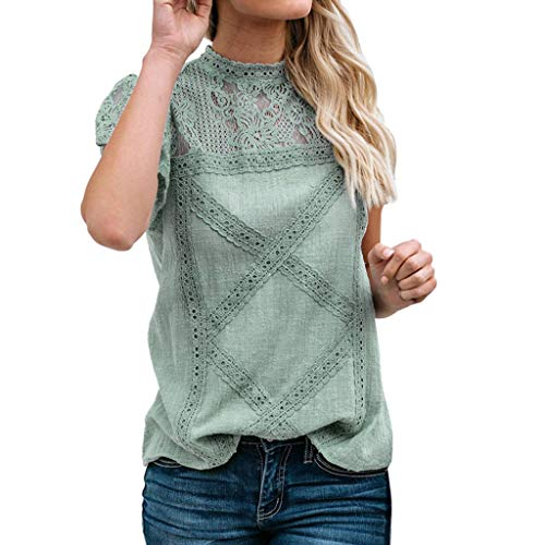 SUNyongsh Womens Lace Tops Patchwork Flare Ruffles Short Sleeve T-Shirts Cotton Blouse Solid Tank Tops Crew Neck Vest Green -