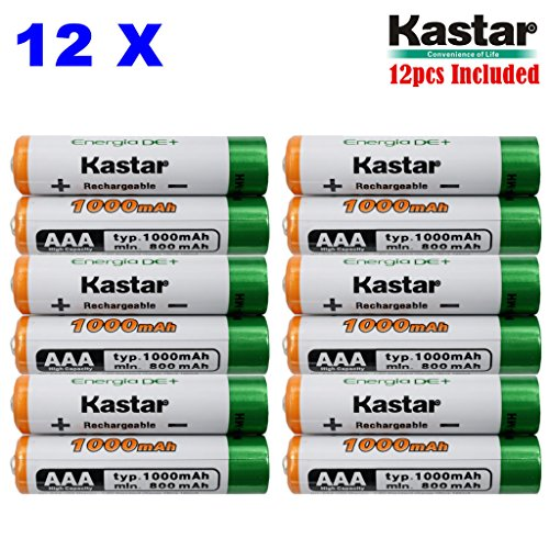 Kastar AAA (12-Pack) Ni-MH 1000mAh Super High-Capacity Rechargeable Batteries Pre-charged