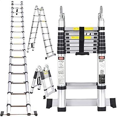 GOPLUS - Escalera telescópica, 5 m, escalera retráctil y plegable, escalera multiusos de aluminio, escalera para ahorrar espacio, carga máxima 150 kg, de color plateado: Amazon.es: Bricolaje y herramientas