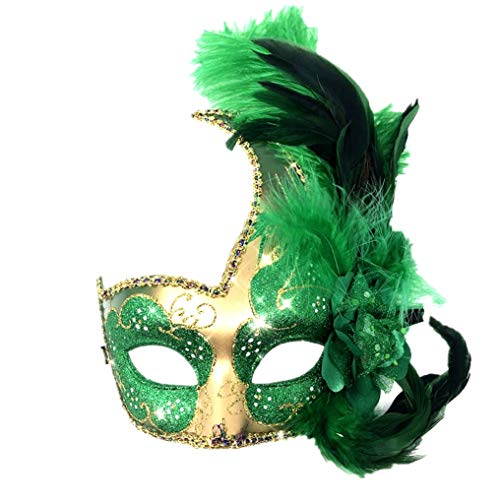 Storm Buy] Women Lady Girls Costume Venetian mask Feather Masquerade Mask Halloween Mardi Gras Cosplay Party Masque (Green)