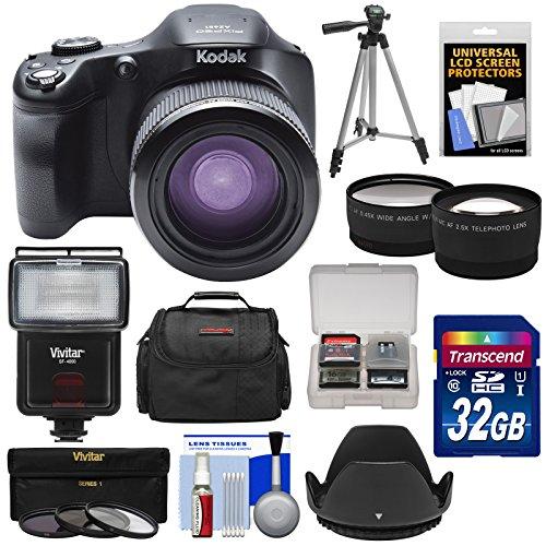 Kodak PixPro AZ651 Astro Zoom Wi-Fi Digital Camera with 32GB Card + Case + Flash + Tripod + 3 Filters + Tele/Wide Lens Kit (Kodak Digital Camera Tripod)