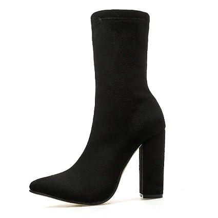 FuweiEncore Zapatos de Mujer Botas Elegantes para Mujer Botines de Cebra Tacones Altos Elasticidad Tacón Grueso