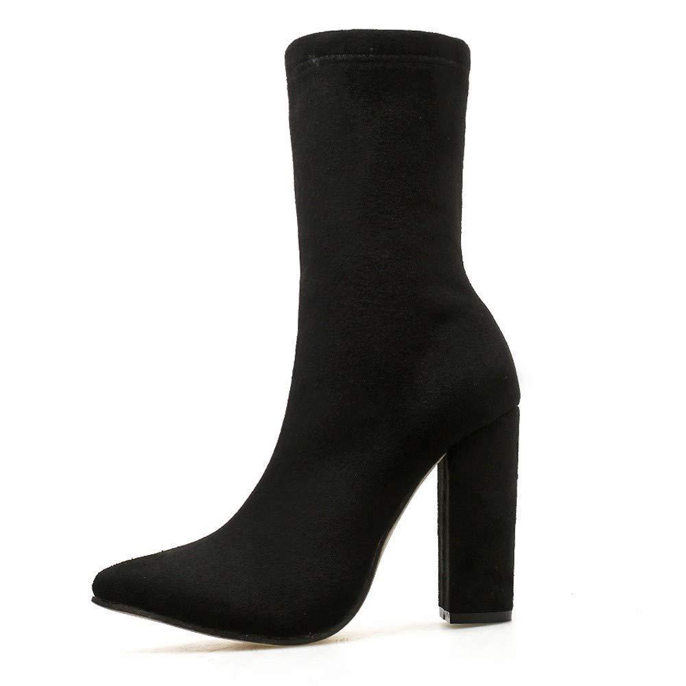 Damen Schuhe Frauen Elegant Stiefel Stiefeletten Zebra Muster High Heels Elastizität Ferse Dicke Spitz Stiefel Schuhe Stiefel WinterStiefel (Farbe   Schwarz Größe   42 EU)