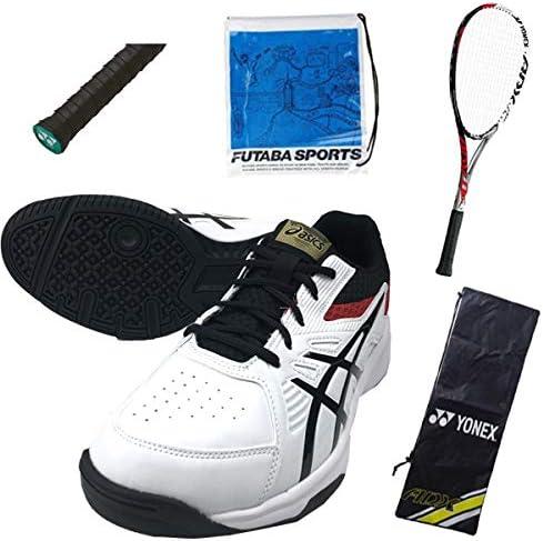 軟式テニス新入生スタートセット!ソフトテニスラケット&テニスシューズセット ADX02LTG 【A】24.0cm 001:レッド
