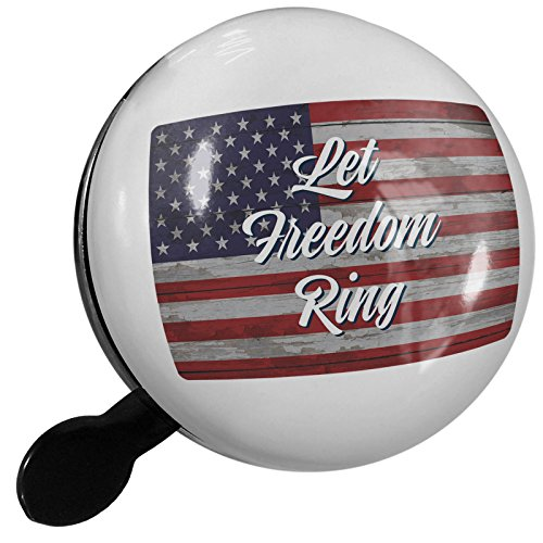 Small Bike Bell Let Freedom Ring Fourth of July Vintage Wood Flag Script - NEONBLOND by NEONBLOND
