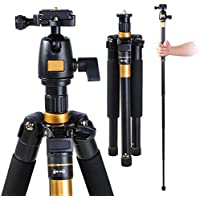 AW Pro 60 Adjustable Tripod Monopod w/ Ball Head For DSLR Camera Travel Aluminum 22lbs Capacity