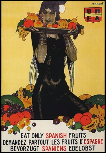 WOMAN WITH TRAY EAT ONLY SPANISH FRUITS HEALTH FOOD SPAIN LA