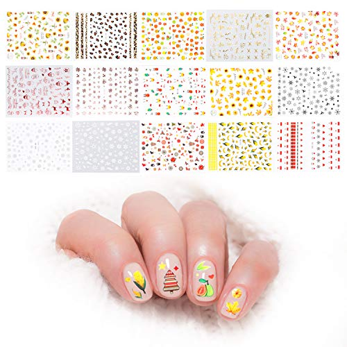 1500+Pcs Mixed Nail Art Stickers Fall Autumn Harvest Winter Snowflake Snowman Decal Self-Adhesive Nail Stickers DIY Manicure Accessories Thanksgiving Christmas New Year Theme for Women Lady(15 Sheets)