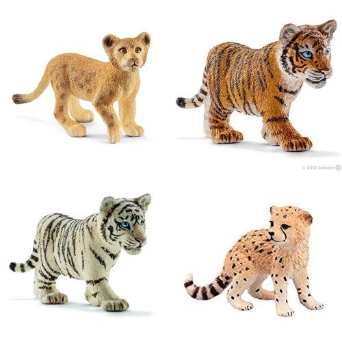 (Schleich Wild CAT Set of 4 Babies/Cubs White and Orange Tiger Cubs, Cheetah and Lion Cubs: Bagged Together Nicely Ready to give!)
