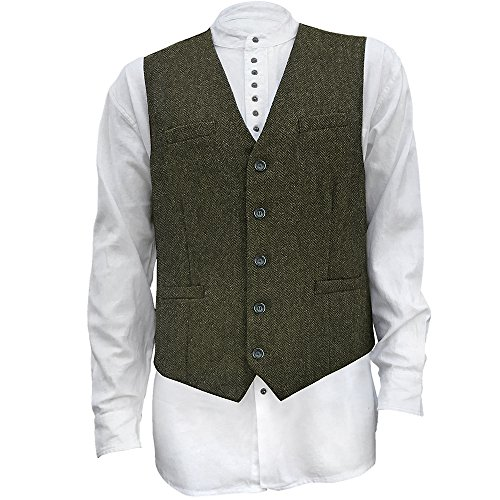 Emerald Isle Weaving Men's Irish Full Back Tweed Vest Olive 42