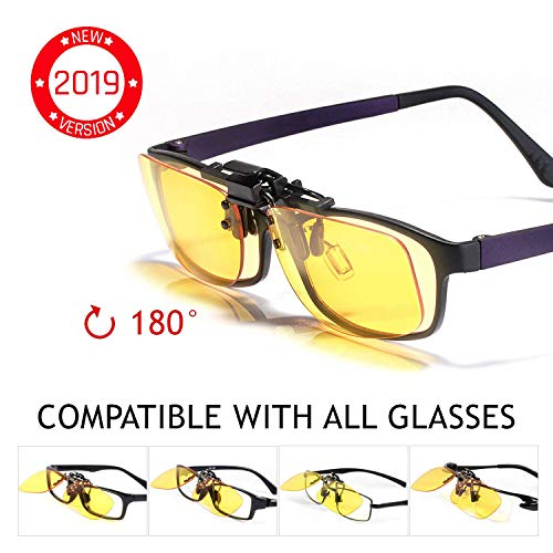 KLIM OTG Blue Light Blocking Glasses Clip on - Blue Blocker Eyeglass Eyewear - Block Blue Light - High Protection for Screen - Gaming Glasses PC Mobile TV - Anti Eye Fatigue, UV - Filters Blue Lights