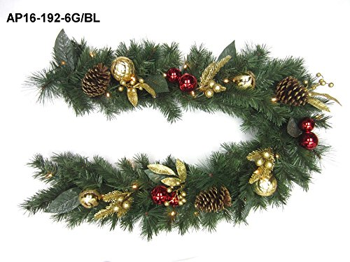 180cm Red Ornament Gold Berry PVC Garland With 25 Warm White LEDs Trans-continental LTD