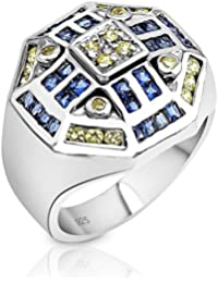Men's Sterling Silver .925 Designer Octagon Ring Featuring 52 Citrine Yellow and Azure Blue Cubic Zirconia (CZ...