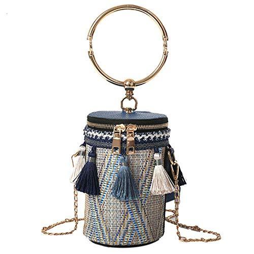 Las Calientes Paja Tejidas De Cruzadas Bolsas Tamaño Del Hombro Forma Eeayyygch color Caqui Mujeres En La Corazón Cilíndricas Cubo Azul XEwzg8qxP