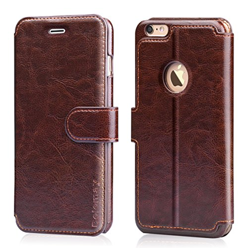 Belemay iPhone 6s Plus Case, iPhone 6 Plus Case, Genuine Cowhide Leather Wallet Case, Flip Cover with Magnetic Closure, Card Holder Slots, Kickstand, Cash Pockets Compatible iPhone 6/6s Plus, Brown