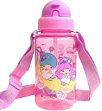SANRIO Little Twin Stars Tritan BPA Free Straw Water Bottle with Strap-removable 14 Ounce