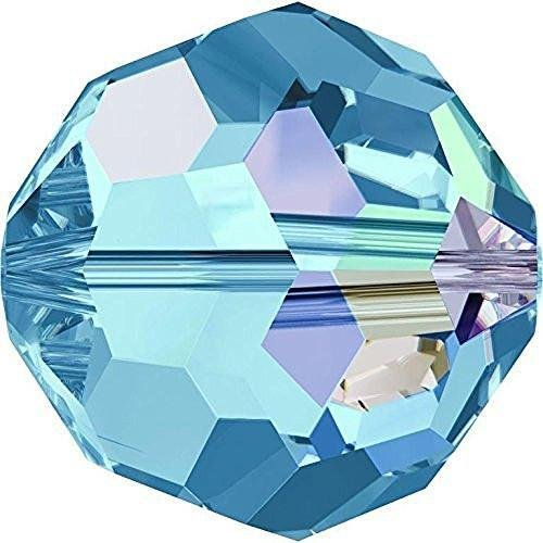 5000 Swarovski Crystal Beads Round Aquamarine AB | 8mm - Pack of 10 | Small & Wholesale Packs