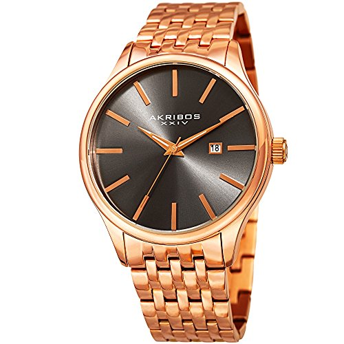 Akribos XXIV Men's with Accented Dial and Case on Metal Bracelet Watch (Gold) ()