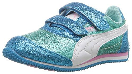 PUMA Girls' Steeple Glitz Glam V Kids, Aruba Blue White, 4 M US ()