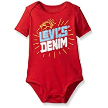 Levis Baby Levis Denim Creeper, Pompeian Red, 12 Months