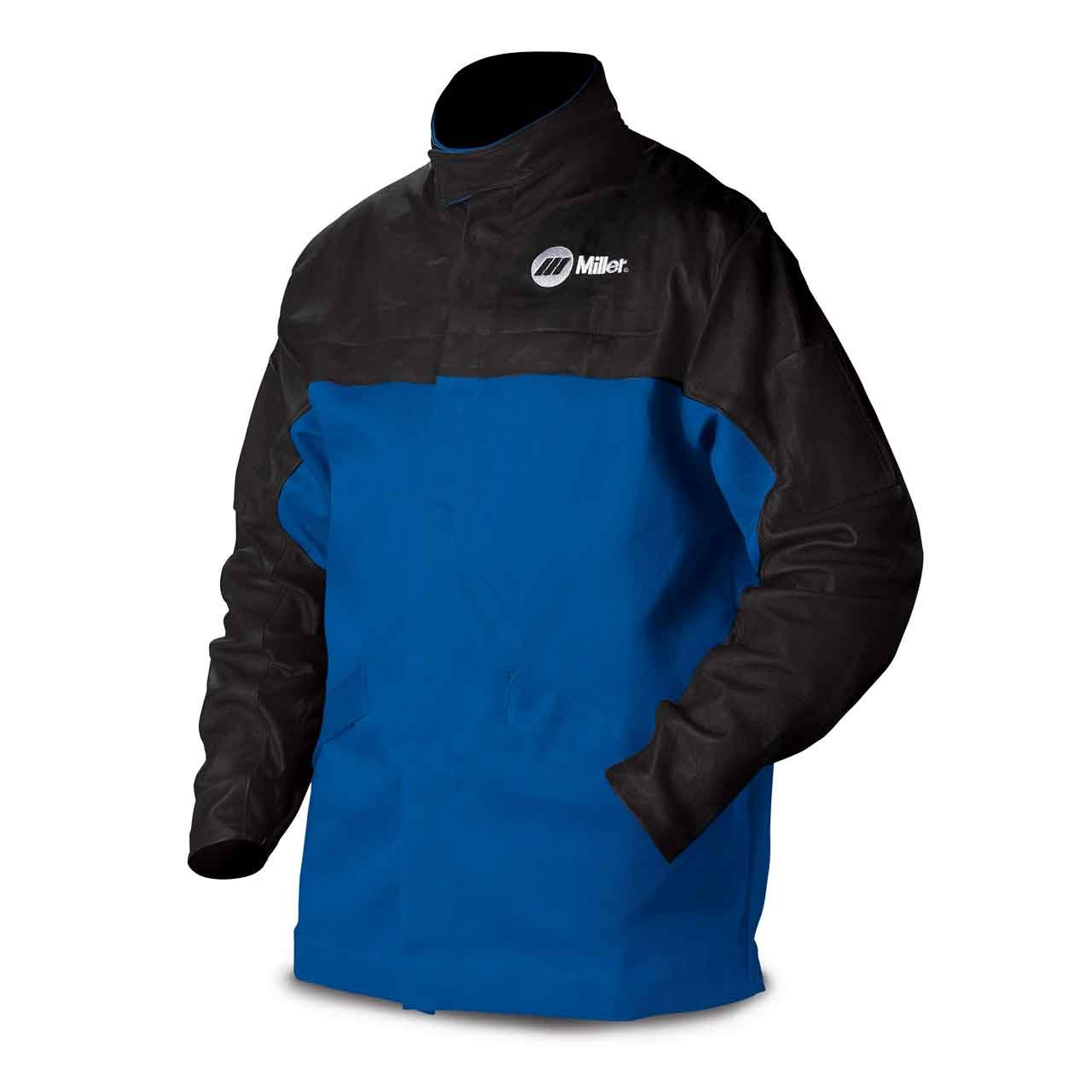 Combo Weld Jkt, Royal/Blk, Ctn/Leather, S by Miller Electric (Image #1)