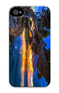 glitter cover sunset park lake tree PC Case for iphone 4/4S
