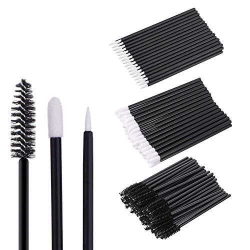 300Pcs Disposable Makeup Applicators Kit, Lipstick Wands Mascara Brush Wands and Eyeliner Brushes Eyelash Brush Disposable Makup Tool