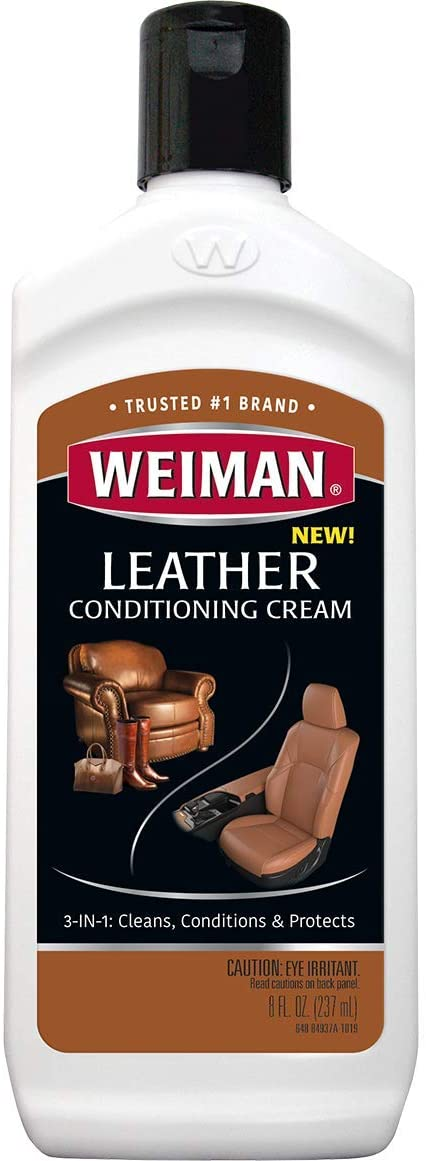 Weiman 3 in 1 Deep Leather Cleaner & Conditioner Cream - Restores Leather Surfaces - Use on Leather Furniture, Car Seats, Shoes, Bags, Jackets, Saddles