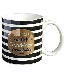 Draeger - Mug Original - Tasse À Thé à offrir en cadeau à vos proches - Tasse À Café en porcelaine fine - 350 ml 8 cm de diamètre x 8,5 cm de hauteur maman au top, grand-mère formidable