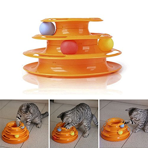 Image of Patgoal Three Layers Cat Intelligence Entertainment Turntable With Colorful Balls
