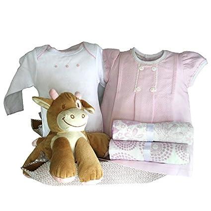 Canastilla bebé - Paseo vaca Mayca rosa - cesta regalo recién nacido ...