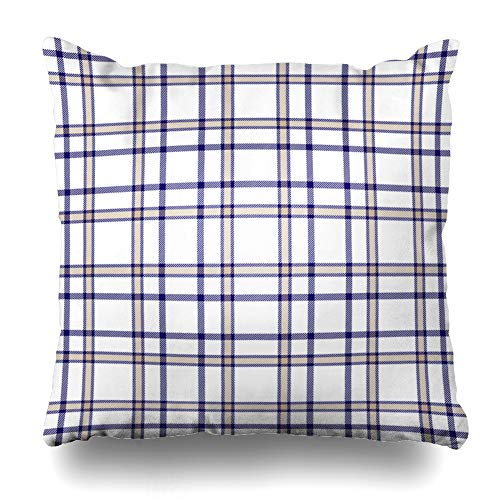 Ahawoso Throw Pillow Cover Pattern Navy Preppy Tartan Plaid Checkered Gingham Vintage Blue Border Check Classic Coverlet Cozy Decorative Pillow Case 18x18 Inches Square Home Decor Pillowcase ()