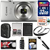 Canon PowerShot Elph 180 Digital Camera (Silver) 32GB Card + Case + Battery + Selfie Stick + Sling Strap + Kit