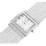 Square Face Ladies Watch 14k White Gold Plated Elegant Bracelet Band Lab Diamond
