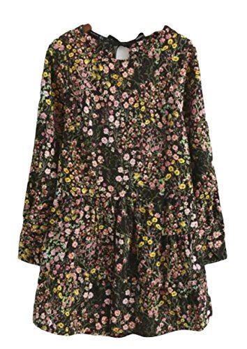 Button As A Picture Crewneck Dress High Women's Leisure Jaycargogo Waisted Printing Line vwEB7vqx
