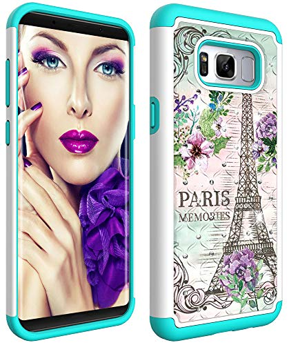 Coloured Glitter - Wiitop Compatible Samsung Galaxy S8 Plus Case,S8+ Back Protective Cover Heavy Duty Tough Dual Layer 2 in 1 Rugged Rubber Hybrid Hard Plastic Soft TPU Coloured Drawing with Glitter Diamond Eiffel Tower