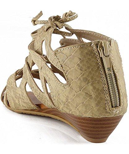 Bamboe Dames Denisa-85 Vetersluiting Met Gesloten Achterkant Sandalen