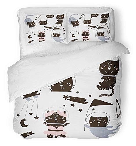 Circus Clipart - 3 Piece Duvet Cover Set Breathable Brushed Microfiber Fabric Animal Circus Cats Astronauts Clipart Cute Cartoon Characters Giraffe Baby Baby Bedding Set with 2 Pillow Covers Twin Size