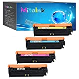 MitoInk CE709A Toner Cartridge Compatible for HP Color Laserjet Enterprise CP5525xh Printer Toner Cartridge - 4 Pack(Black 13,500 Pages and Colors 15,000 Pages)