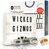 WICKED GIZMOS  Large 24 Bright LED A4 Cinematic Light Box with Double Pack Letters, Numbers and Symbols - 100 Black and 100 Colourful PLUS 15 Bonus Emoji Cards - Personalise your Message Every Day - Freestanding or Wall Mounted - USB or Battery Operated - Available in Black, White, Gold or Pink
