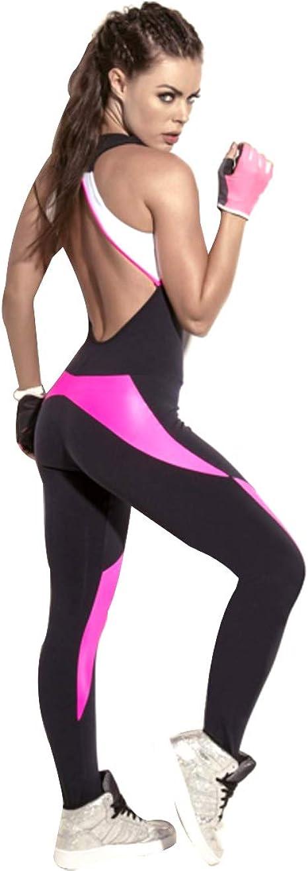Inlefen Yoga Combinaison Femmes Dos Nu /Épissage Couleur Coupe Slim Aptitude V/êtements de Sport