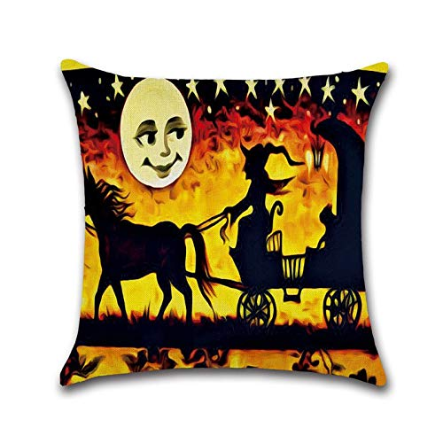 PengGang Sports Cartoon Halloween Cushion Cover Linen Creative Pumpkin Witch Halloween Throw Pillow Case Cushion Cover kussenhoes funda cojin ()